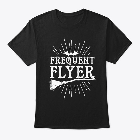 Frequent Flyer Vintage Bat And Witch Hal Black T-Shirt Front