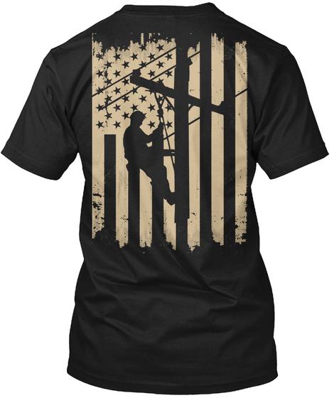 Lineman Gift Lineworker On Vintage Flag Black Camiseta Back