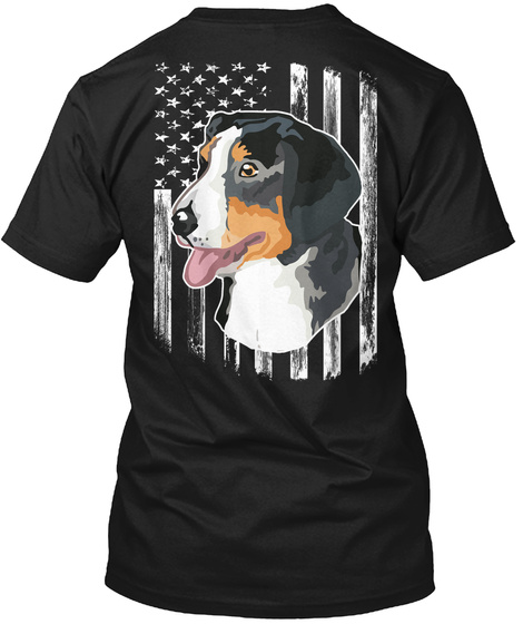 American Flag Entlebucher Mountain Dog Black T-Shirt Back