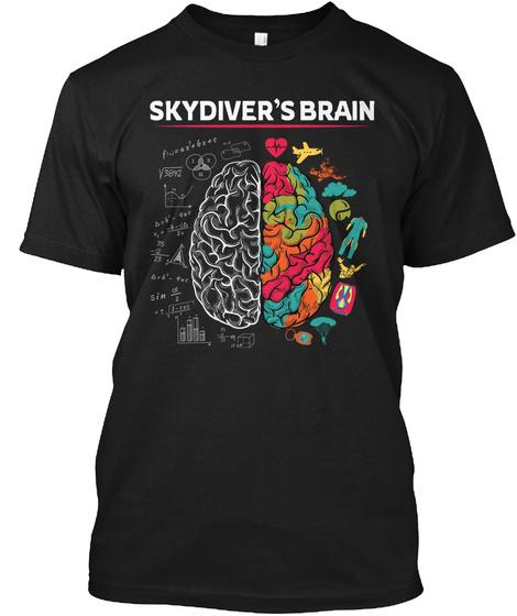 Skydiver's Brain Black T-Shirt Front