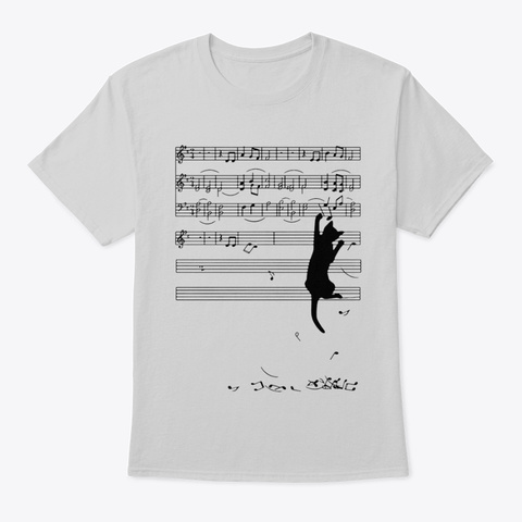 Black Cat With Music Notes Funny  Light Steel T-Shirt Front