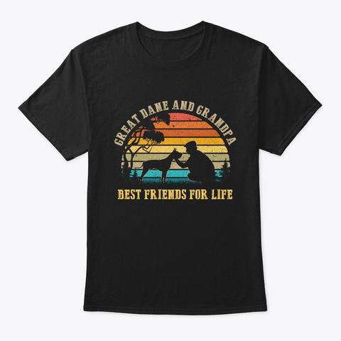 Great Dane And Grandpa Friends Tshirt Black T-Shirt Front