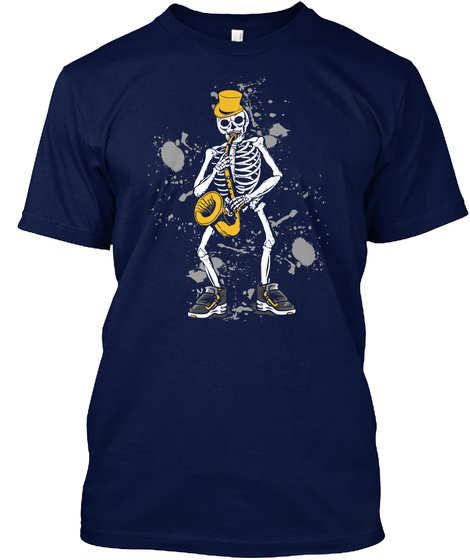 Skeleton Saxophone Halloween Dancing Navy T-Shirt Front