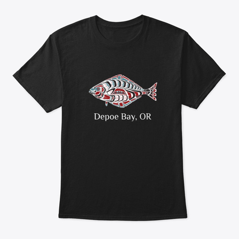 Depoe Bay Or Halibut Fish Pnw Black T-Shirt Front
