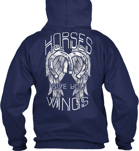 Horses Give You Wings Navy T-Shirt Back