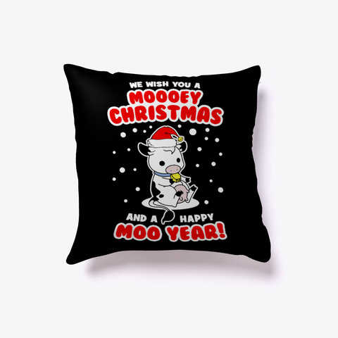 Mooey Christmas Cow Pillow Black T-Shirt Front