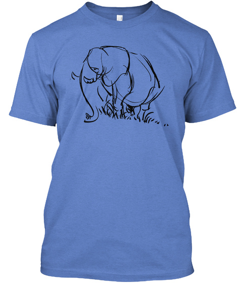 Elephant Sketch T Heathered Royal  T-Shirt Front