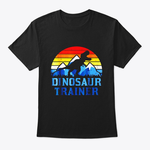 Vintage Dinosaur Trainer T Rex Halloween Black T-Shirt Front