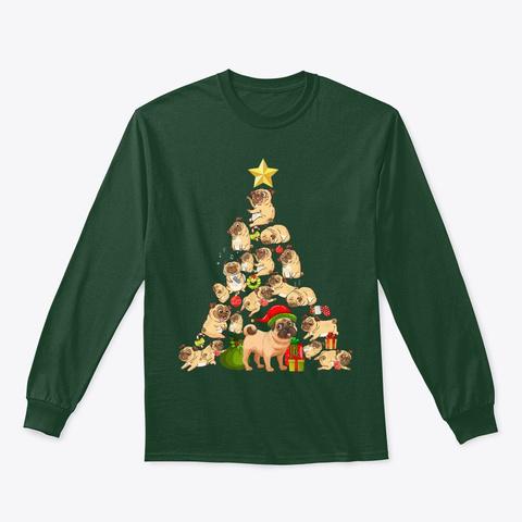 Pug Christmas Tree Shirt Funny Pugmas Forest Green T-Shirt Front