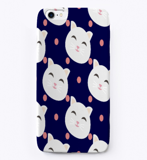 Cat Lover I Phone Case Dark Navy T-Shirt Front