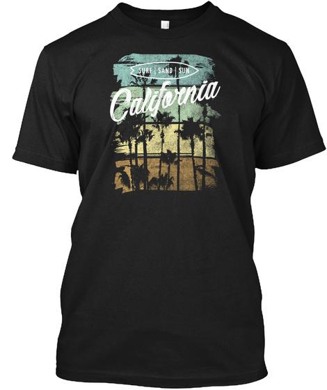 California Surf Sand Sun Vintage Beach Black T-Shirt Front
