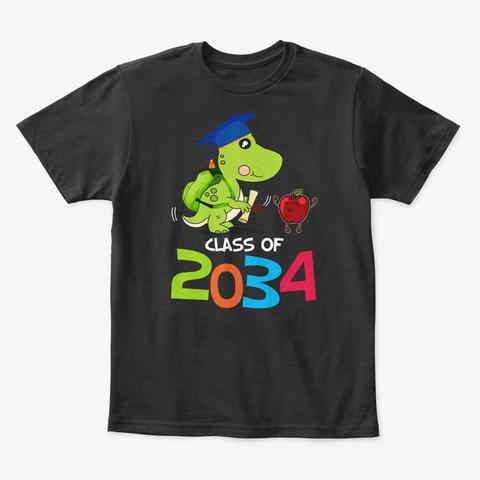 Class Of 2034 Future Dinosaur Graduate Black T-Shirt Front