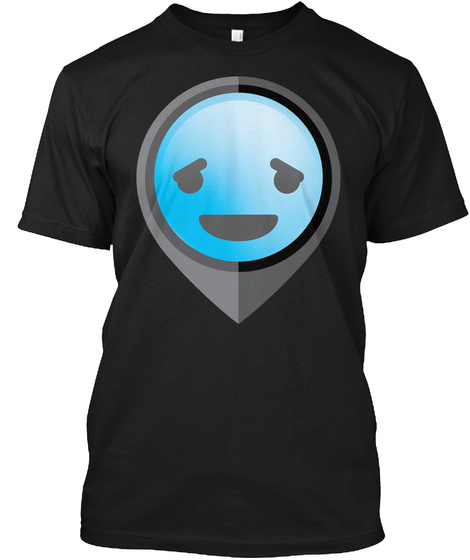 Pointer Emoji Pleasantly Happy Face Black T-Shirt Front
