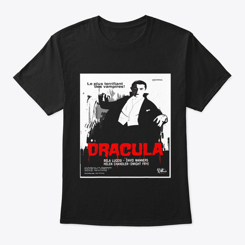 Dracula Movie Art T Shirt Vintage Horror Black T-Shirt Front