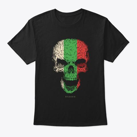 Skull Bulgaria Flag Skeleton Black T-Shirt Front