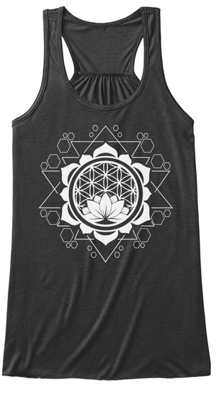 Sacred Healing Geom By Yoga Threads Dark Grey Heather T-Shirt Front