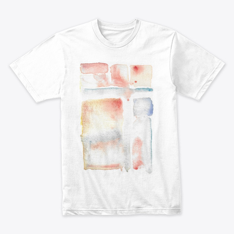 Squares, Watercolours, Artistic White T-Shirt Front