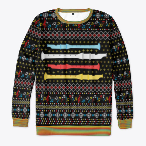 Ugly Flute Christmas Sweater 2020 Gifts Black T-Shirt Front