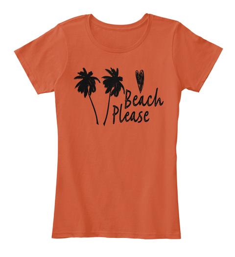 Beach Please Chill Florida Palm Trees Deep Orange T-Shirt Front
