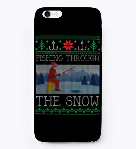 Christmas Ice Fishing Christmas Sweater Black T-Shirt Front