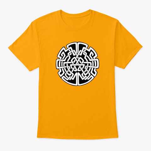 Celtic Tribal Abstract Art   Celtic Maze Gold T-Shirt Front