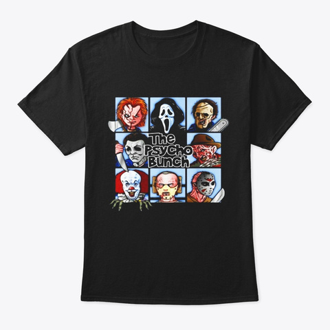 Spooky The Psycho Bunch Serial Killer Black T-Shirt Front