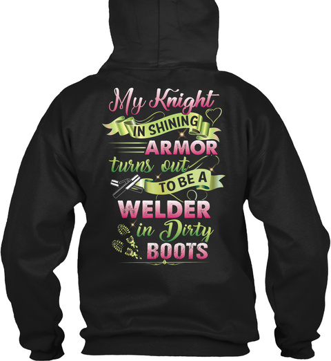 Cute Welder's Lady Black T-Shirt Back