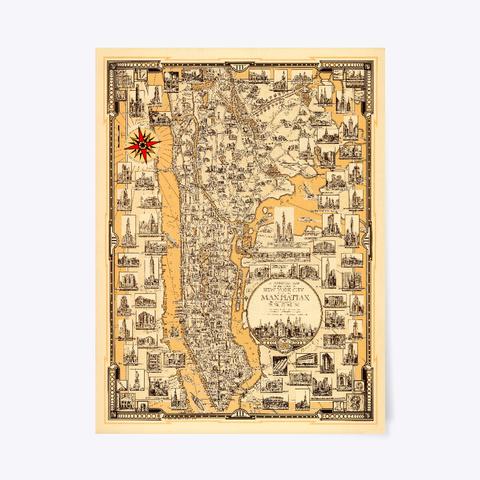 Map Of Manhattan, 1939 White T-Shirt Front