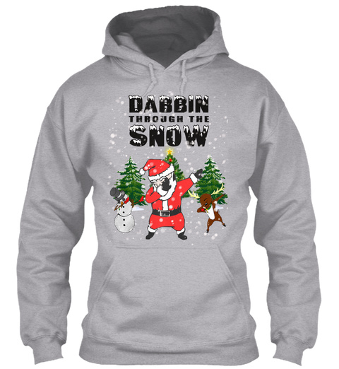 Christmas Santa Dabbing Through The Snow Sport Grey T-Shirt Front