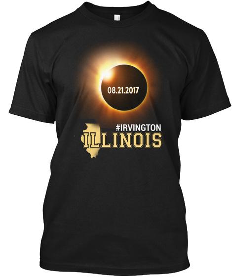 Eclipse Irvington Il. Customizable City Black T-Shirt Front