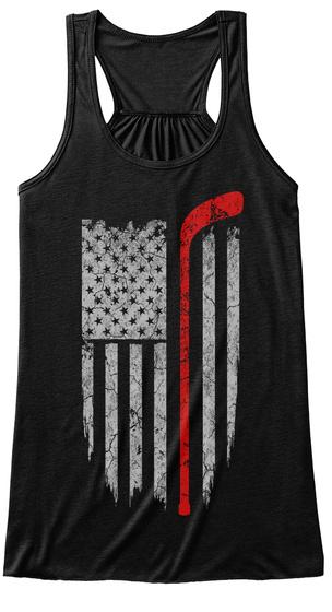 Hockey   Usa Flag Black T-Shirt Front