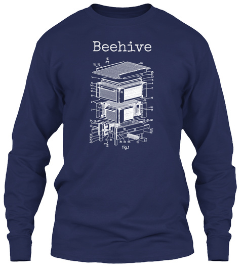 Beehive Patent Shirt, Beekeeper Navy T-Shirt Front