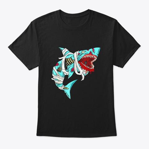 Shark Zombie Shirt Halloween Jawsome Black T-Shirt Front