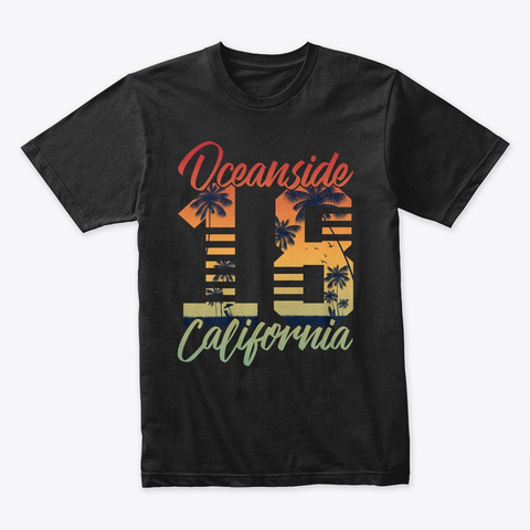 Oceanside California T Shirt  Black T-Shirt Front