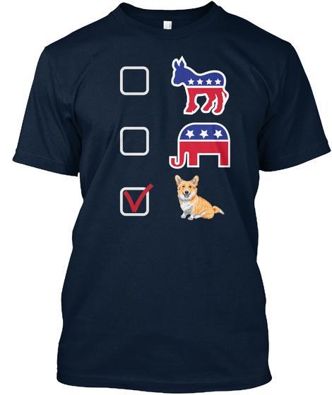 I Vote Corgi Tees New Navy T-Shirt Front