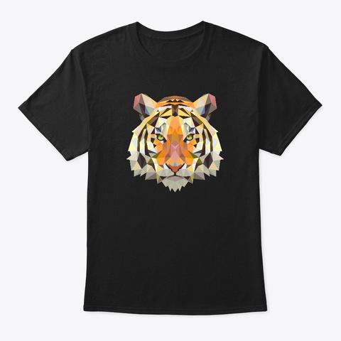Cool Geometric Bengal Indian Tiger Cat Black T-Shirt Front