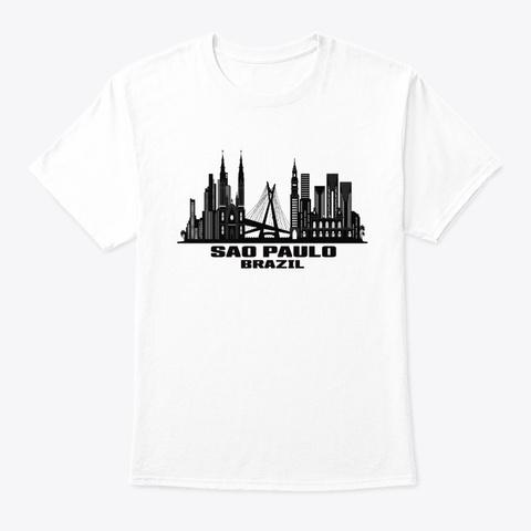 Sao Paulo Brazil Skyline White T-Shirt Front