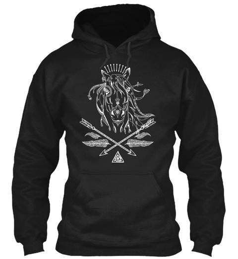 Horse Boho Arrows Black T-Shirt Front