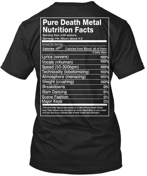 Pure Death Metal Nutritional Facts Black Maglietta Back