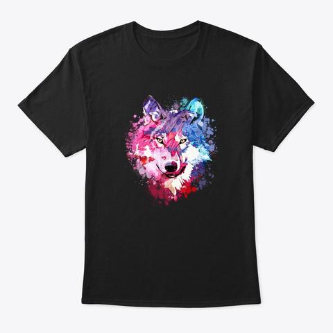 Wolf Face Color Art Silhouette Black T-Shirt Front