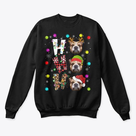 English Bulldog Ho Ho Ho Christmas  Black T-Shirt Front