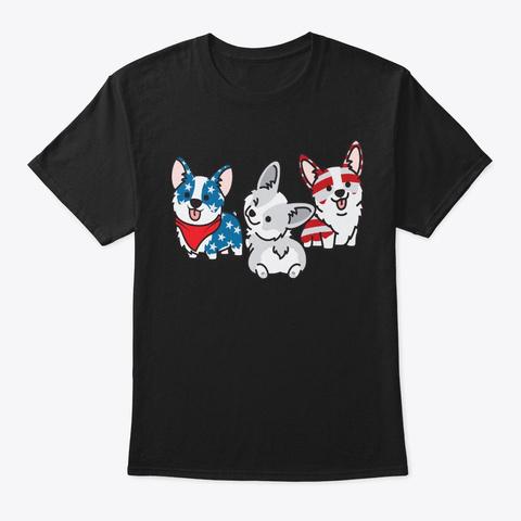 Patriotic 4th Of July Corgi Lover Gift Black T-Shirt Front