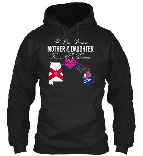 Mother Daughter   Alabama Michigan Black T-Shirt Front
