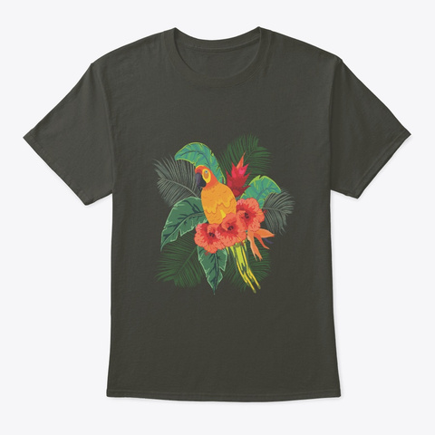 Paradise Parrot Tropical Hibiscus Macaw Smoke Gray T-Shirt Front