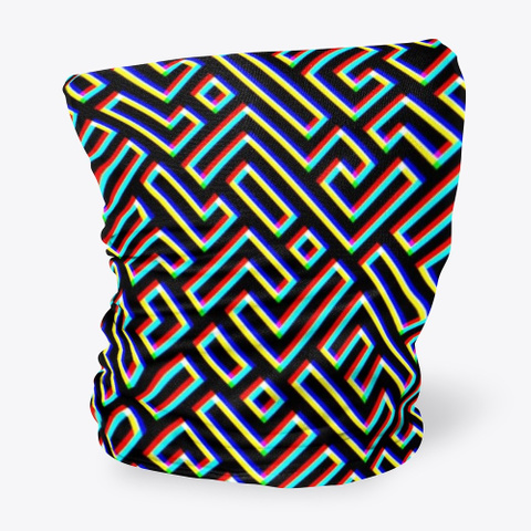 Amazing Maze   Retro Pattern Black T-Shirt Side