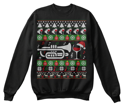 Cornet Wine Ugly Christmas Sweater Gifts Black T-Shirt Front