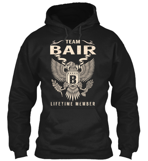 Team Bair B Lifetime Member Black T-Shirt Front