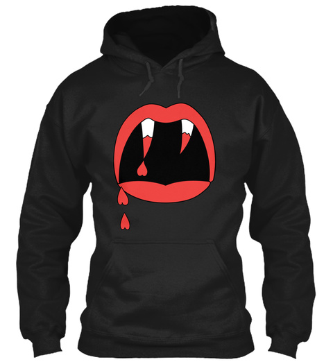 Hipster   Love Fangs Black T-Shirt Front