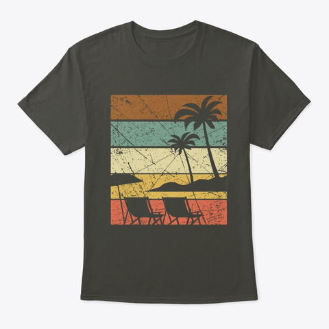 Vintage Beach Palm Trees Beach Chair  Smoke Gray T-Shirt Front