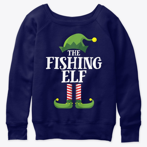 Fishing Elf Matching Family Group Christ Navy  T-Shirt Front